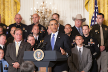 """President Obama honors Top Cops at White House Reception for NAPO"""